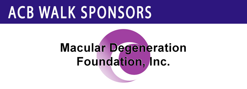 ACB Walk Sponsors banner with Macular Degeneration Foundation Logo